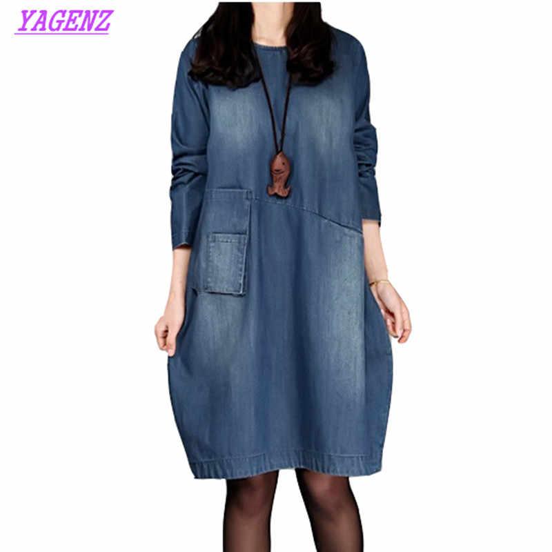 Женское джинсовое платье больших размеров на весну и осень, новое джинсовое платье с длинными рукавами в стиле ретро, свободное женское платье, 4XL B598