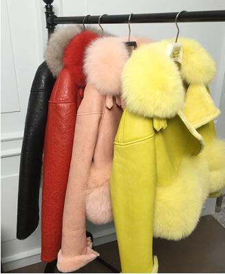 """BUY NOW   Brand Famous Genuine suede leather Fur jackets  women""""s Real fur coats .Luxury autumn winter real fox fur coats"""