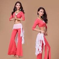 Women Short Sleeve Belly Dancing Costume Set Femamle Top Pants Belt Bollywood Dance Costumes Practice Stage
