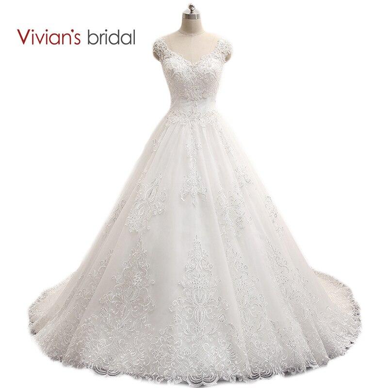 Vivian's Bridal V Halsduk Ärm Ärmlös En Linje Bröllopsklänning Med Stor Tåg Sequins Kant Bröllopsklänning WD800-1