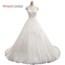 Vivian's Bridal Cap Sleeve Sleeveless Wedding Dress With