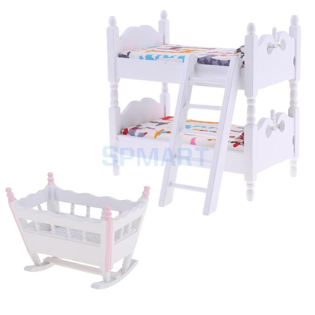 Us 15 98 20 Off 1 12 Dolls House Miniature Furniture Children Bunk Bed Baby Cradle Kids Bedroom Decor Accessories In Furniture Toys From Toys