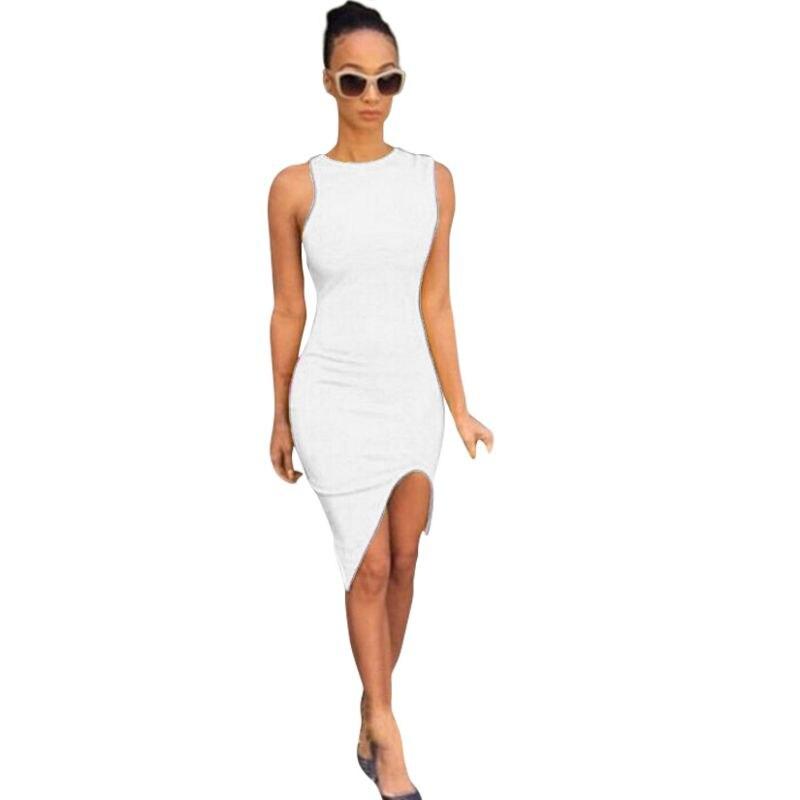 Пикантные Для женщин летние Повседневное без рукавов элегантные Вечеринка платья белые короткие повязки Bodycon платье плюс Размеры LE3