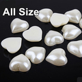 All Size 144pcs Heart Shape Half Round Pearl Clear ABS Beads for Nail Art Phone Decoration Wedding Garment Accessories B1825