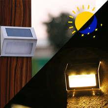 Super 3 LED Solar Power Light Sensor Wall Light Garden Step Stair Deck Lights Lamp Dropshipping June#6