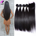 7A Unprocessed Peruvian Virgin Hair With Closure 4 Bundles Straight Hair With Closure Human Hair Bundles With Lace Closures