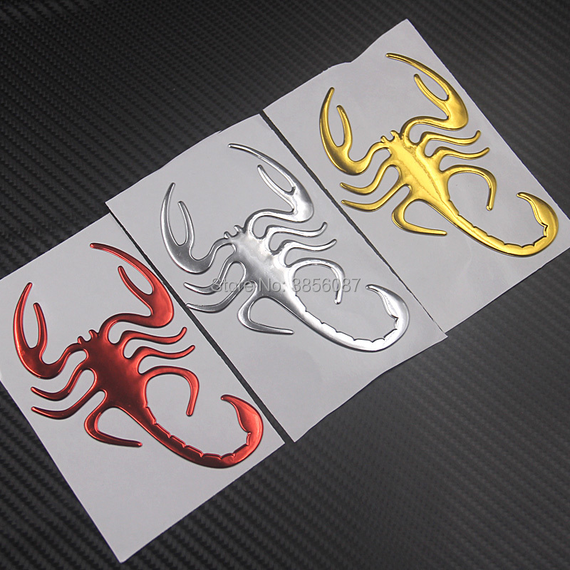 FASP Car Motorcycle Sticker Simulation Animals Bumper Retrofit Stickers  Scorpions Golden Silver And Red