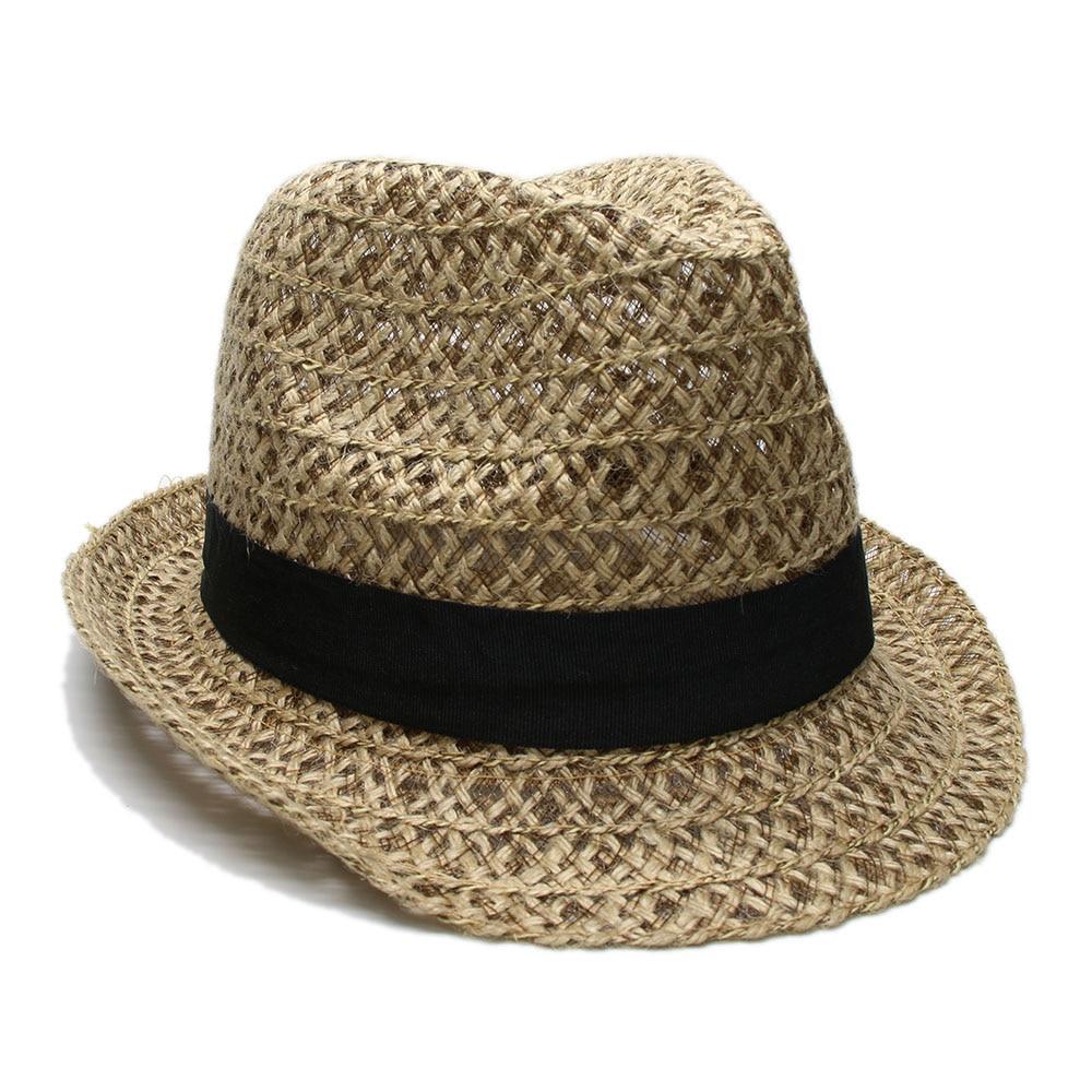 94b4df1834aac LUCKYLIANJI Vintage verano playa hombres mujeres Trilby Sun cáñamo Chapeu  Panamá rafia hueco Casual sombrero (Un tamaño  58 cm)