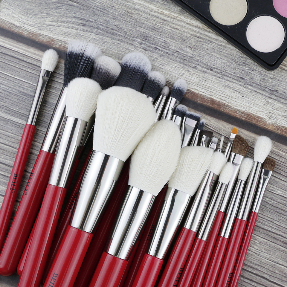 Image 2 - BEILI Red 24pcs Professional Makeup Brushes Set Natural Hair Powder Cream Foundation Blusher Eye blending brow Lip Eyeliner-in Eye Shadow Applicator from Beauty & Health