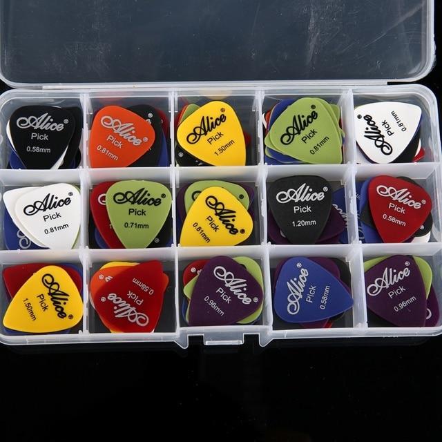Droppingship 4/30/40/50/100 pcs גיטרה מבחר & תיבת מקרה אליס אקוסטית חשמלי גיטרה אביזרי כלי נגינה 0.58-1.5mm