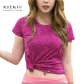 S-XL 5 Color Women's T-shirt Fashion Workout Qick-Dry Tops Solid Slim Elastic Cotton Polyester Spandex Short Sleeves Tees Female