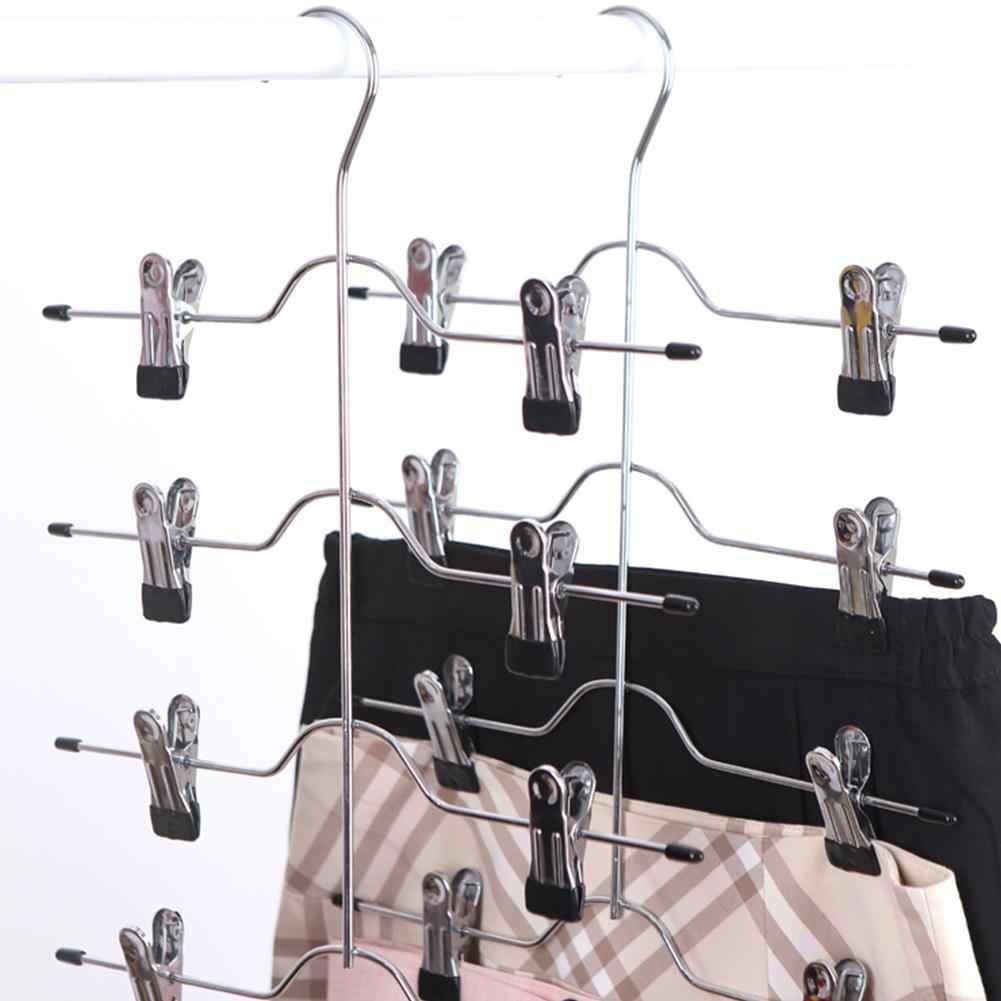 1 Pza perchas de acero inoxidable para ropa pantalones de alambre antideslizante ropa de secado percha para adultos y niños