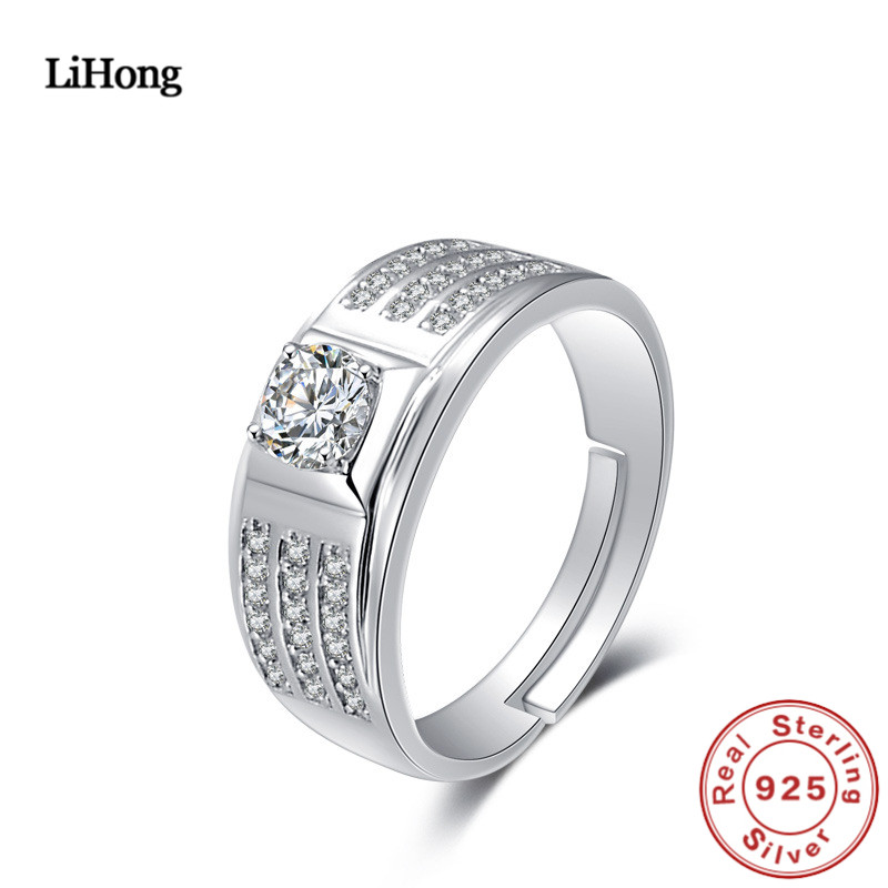 Ringe Hohe Schmuck 925 Sterling Silber Ring Männer Nationalen Wind Silber Zirkon Kristall Ring Engagement Ring Edler Schmuck