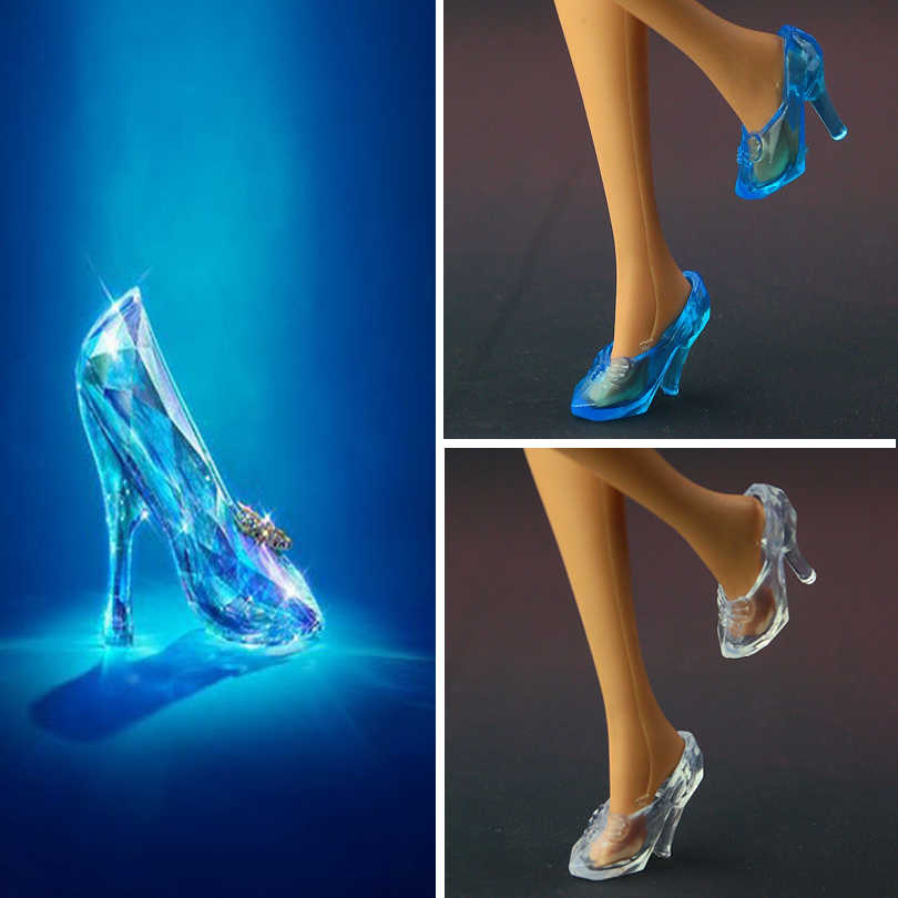 2019 New Fashion Crystal  Shoes for barbie  High quality blue shoes for Cinderella doll Free shipping