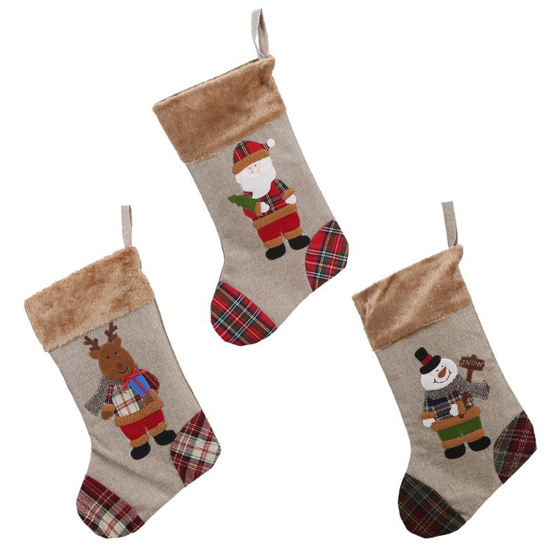 Home Christmas Stocking Theme Decoration Stocking Ornaments Gift Storage Decal Christmas Candy Bags Gift Holders For Childrens