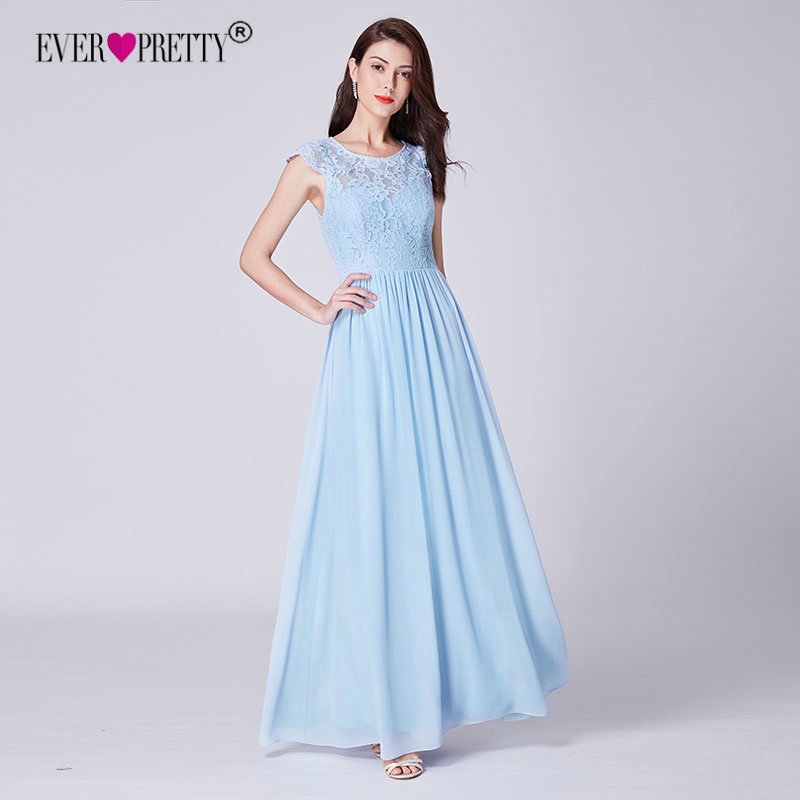 Us 31 56 35 Off Ever Pretty Blue Bridemaid Dresses 2018 New Elegant A Line Cap Sleeve Long Chiffon Wedding Party Gowns With Lace Bodice Ep07364 In