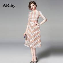 Women Dress Summer O-Collar Dress 2019 Temperament Office Lady Stripe Seven-split Sleeve Lace A-Line Knee-Length Dress Vestidos