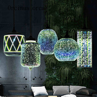 3D glass pendant lamp restaurant, living room lamp, bedroom bar, bar art lamp, creative personality, retro industrial lighting