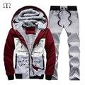 Marca-Roupas de inverno Hoodies Hoodies XXXXL Homens Treino Sportwear Aptidão Moletom 2016 homens Casuais Terno Conjunto Capuz D5801