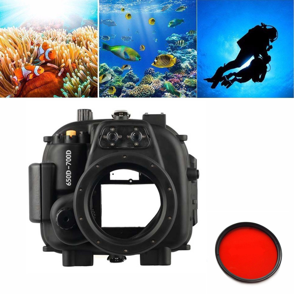 Meikon 40M 130FT boîtier étanche sous-marin pour Canon EOS 650D 700D (rebelle T4i/T5i) caméra + filtre rouge MEIKON 67mm