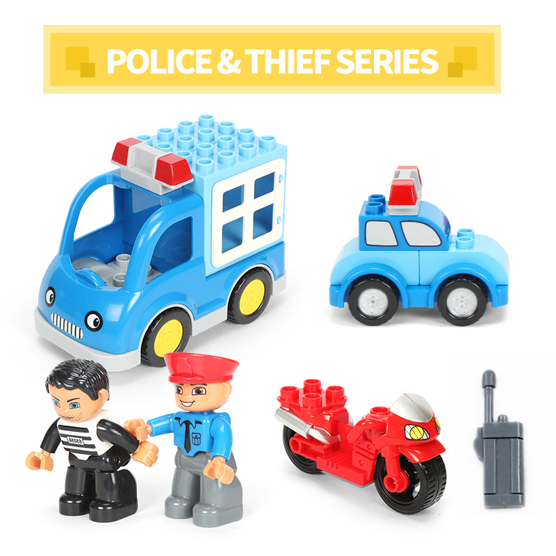 Funlock Duplo Building Blocks Police set & Fire set Toys Bricks Creative Educational Gift for Kids Children dayan gem vi cube speed puzzle magic cubes educational game toys gift for children kids grownups