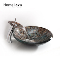 High Grade Modern Luxurious Round Tempered Glass Sink Faucet Set Include Sink Faucet Mounting Ring Water