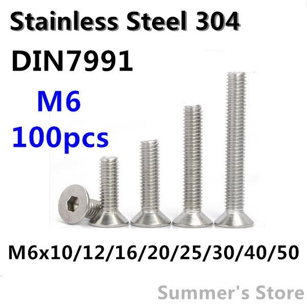 100pcs/lot Din7991 M6 Stainless Steel Hex Socket Flat Head Cap Screw M6*10/12/16/20/25/30/40/50mm Countersunk Head Screw Bolt