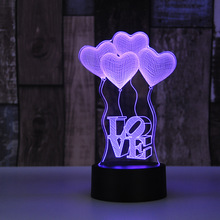 LED 3D LOVE Night Light 7 Colors Changing Lamp USB Acrylic optic lights decor Nights lamps girl gift for girlfriend boyfriend gift valentine s day beautiful autism calming sensory led light lamp multicolour fibre optic ice relax changing