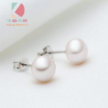 lingdong fashion brand 925 sterling silver inlaid round freshwater pearl earring  8mm pearl free shipping  21 30 16mm natural ore turquoise inlaid vintage rings 925 sterling silver inlaid jewelry gem free shipping