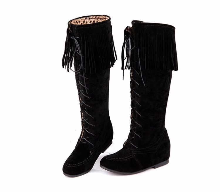 Height Increasing Knee High Boots Women 2016 Fashion Winter Long Lace Up Tassel Boots Short Plush Women Boots Botas Mujer DX62 (7)