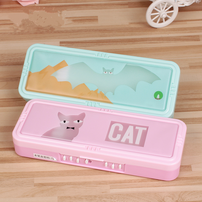 Two Layer Plastic Pencil Case with Password Lock Animal Cartoon Pencil Case Student Stationery 3584 Pupils Pencil Box chic plunging neck zipper design solid color tank top for women page 2
