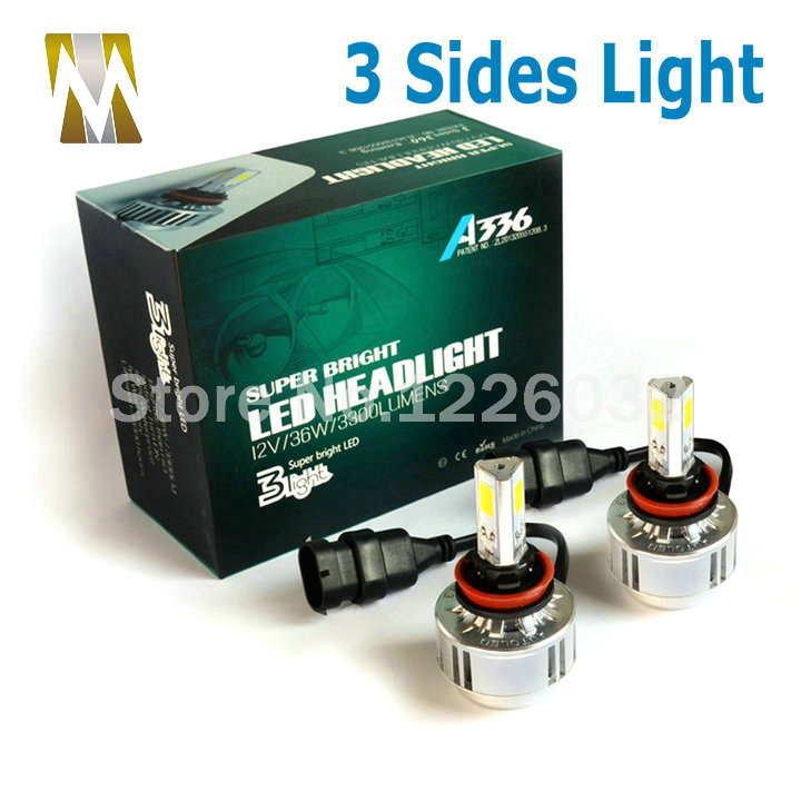 3 Sides Headlamps H8 H9 H11 LED Headlights Bulbs 35W 12V Cars Head Lamps 360 Degrees
