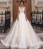 Summer new A shaped double shoulder small tail wedding dress tailor made large Lace Wedding Dress