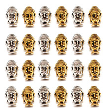 PDFLKR 20pcs/lot Wholesale Alloy Buddha Head Beads Silver Gold Color Spacer Beads Charms For Jewelry Making Bracelet Findings