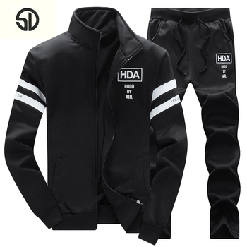 Tracksuit Men HDA Printded Brand-Clothing Fashion Casual Sudaderas Hombre Mens Thick Fleece Hoodies Coat+Sweat Pant Sweat Homme face mask