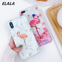 Luxe Glitter Marmer Case sFor iPhone 6 s 7 8 Case Grappige Flamingo Veer Silicone Soft TPU Cover Voor iPhone 7 8 X S XR Max Case(China)