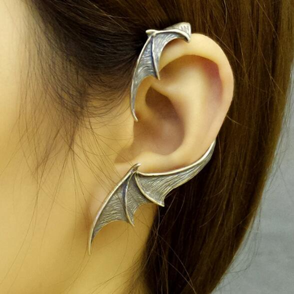Vintage Punk Style Solid 925 Sterling Silver Earrings Bat Wing Single Earring Gothic Jewelry For Women Girl Gift Allergy Free pair of characteristic punk style silver colored earrings for women
