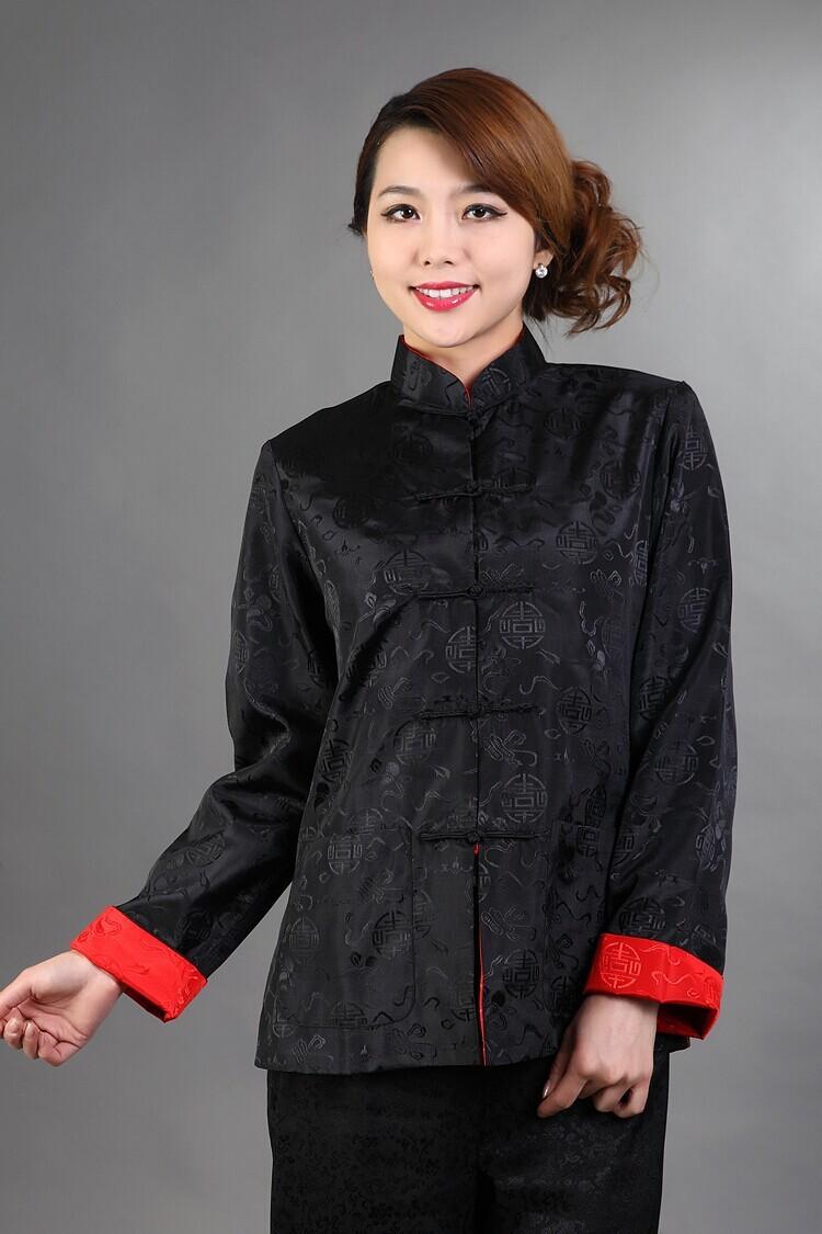 215b55a02c8 Двусторонний черный красный женщины шелковый атлас куртка китайский ...