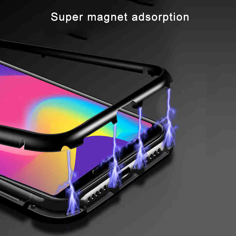 Magnetic-Adsorption-Case-For-Huawei-P20-Clear-Tempered-Glass-Back-Cover-Metal-Frame-Magnet
