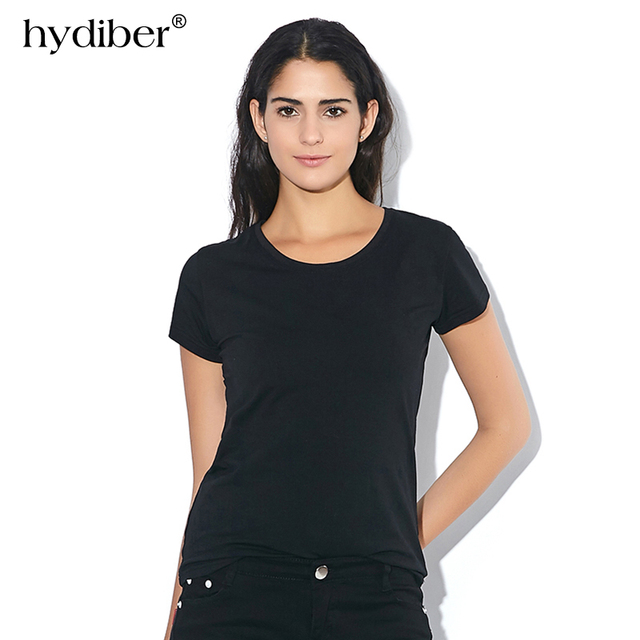 HYDIBER Casual Women Solid Black Short Sleeve Cotton T-shirts For Ladies Red O-neck Female White Clothing Tops Tee Plus Size 3XL