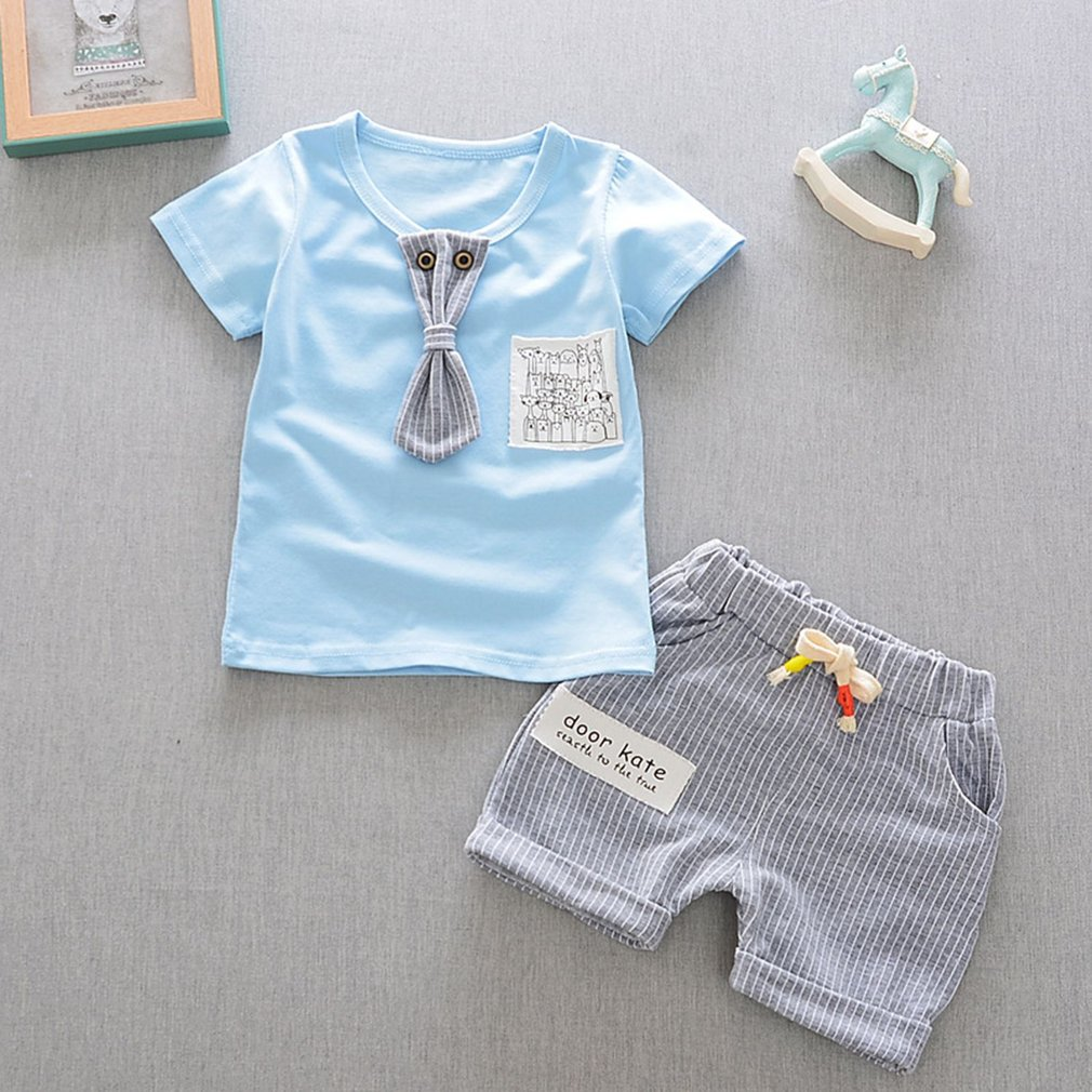 OUTAD 2PCS Baby Boys Girls Clothes Fashion Summer Cotton Outfit T-Shirts + Shorts roupa infant Newborn Suit set New Sale