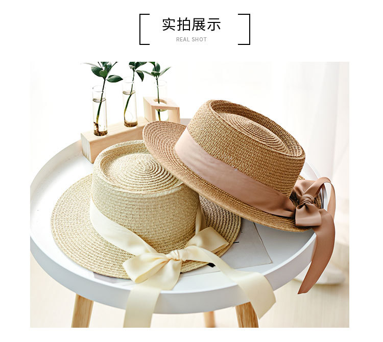HTB1kKr5aOzxK1RkSnaVq6xn9VXau - Ymsaid New Summer Sun Hats Women Fashion Girl Straw Hat  Ribbon Bow Beach Hat Casual Straw Flat Top Panama Hat Bone Feminino