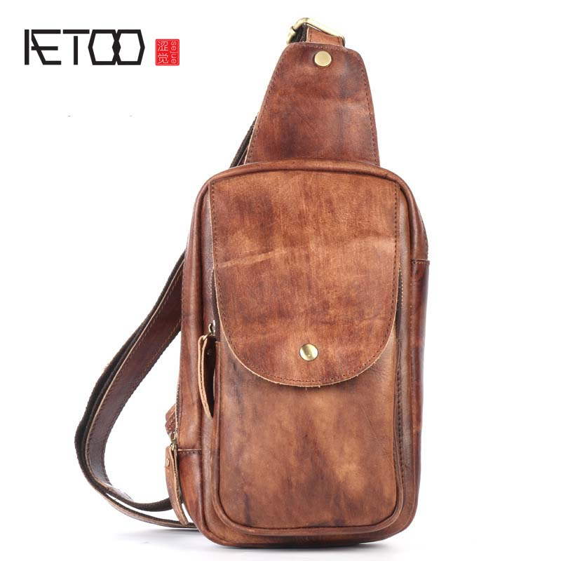 AETOO Genuine Leather Men Bag Men's Crossbody Bag Men Messenger Bags Zipper Leather Phone Chest Pack Waist Small Belt Bag Male bullcaptain messenger bag leather men bag genuine leather waist pack small shoulder crossbody bags fashion ipad belt chest bags