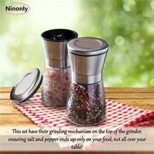 2 Pcs Glass Salt Pepper Grinder Body Seasoning Bottle Adjustable Coarseness Salt Pepper Mill Home Restaurant Kitchen Picnic Tool