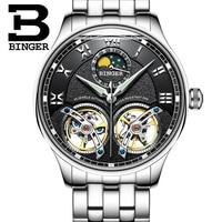 2019 New Double Tourbillon Switzerland Watches BINGER Original Men's Automatic Watch Self Wind Fashion Men Mechanical Wristwatch