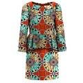 Элегантный Повседневная Женщины Питер Пэн Collor Африканских Платье Печати Яркие Дамы Dashiki Одежда Женская Платья