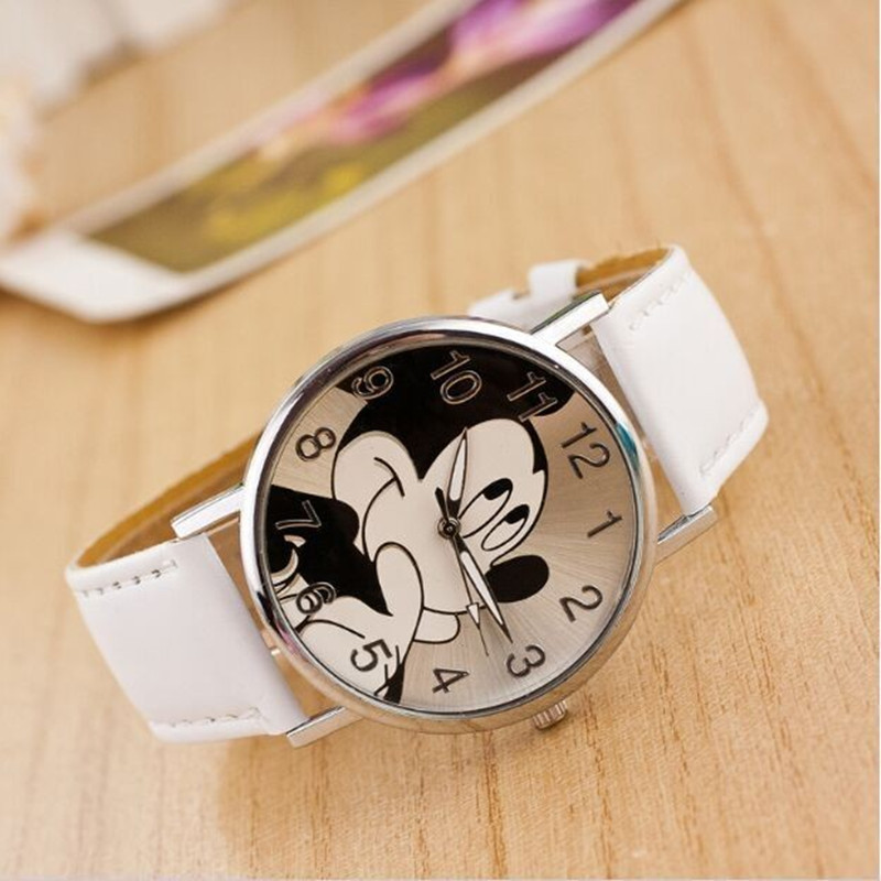 Fashion Mickey Mouse Children Watches  Minnie Women Watch Boy Cartoon Watches Imitation Leather Unisex Quartz Wristwatch Student