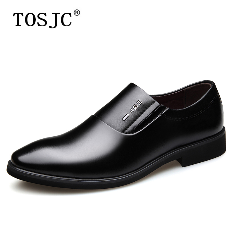 TOSJC Spring British Style Leather Mens Formal Wedding Shoes Casual Man Slip on Business Dress Shoes Men Loafers Pointed Shoe