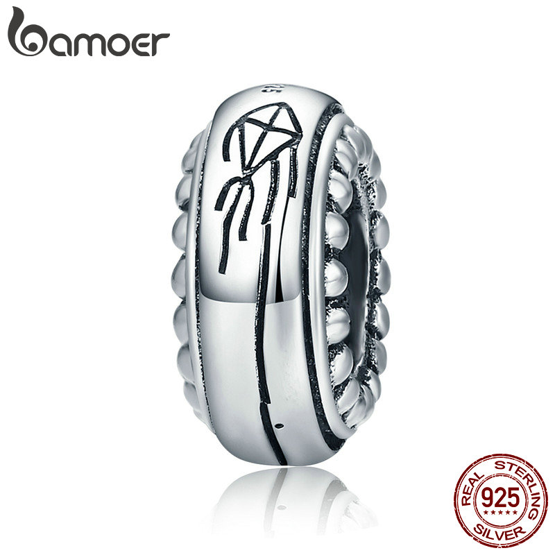 BAMOER 100% 925 Sterling Silver Spring Collection Kite Memory Engrave Silicon Spacer Beads fit Bracelet & Bangles Jewelry SCC626 bamoer romantic new 925 sterling silver i love you forever engrave spacer beads fit charm bracelet & bangles diy jewelry scc595