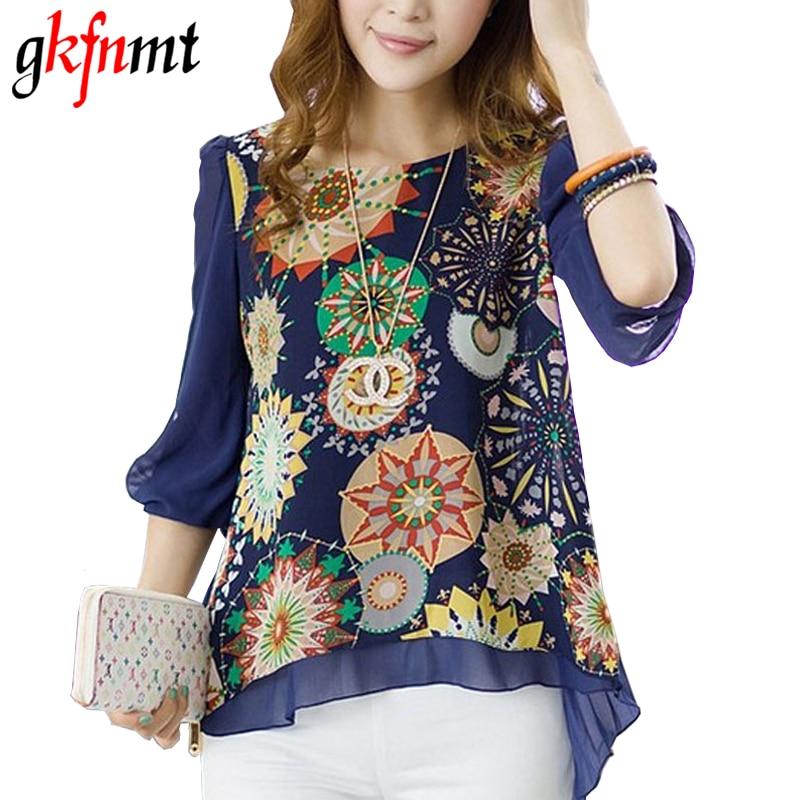 2018 nieuwe lente zomer vrouwen blouses mode toevallige vrouwelijke tops losse plooien retro gedrukt bluschiffon blouse plus size xxxl